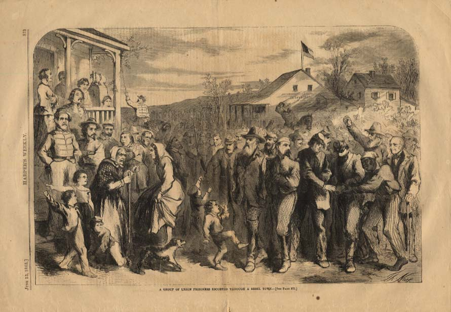 Image for HARPER'S WEEKLY 6/13 1863 Union Prisoners escorted thru Rebel Town by Thos Nast