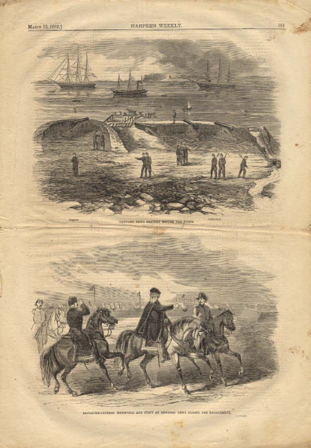 Image for HARPER'S WEEKLY 3/22 1862 Gen Mansfield & Newport News Battery before the fight