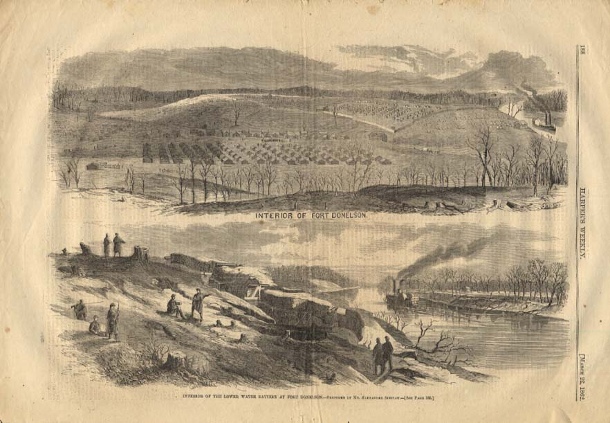Image for HARPER'S WEEKLY 3/22 1862 Interior & Lower Water Battery of Fort Donelson TN