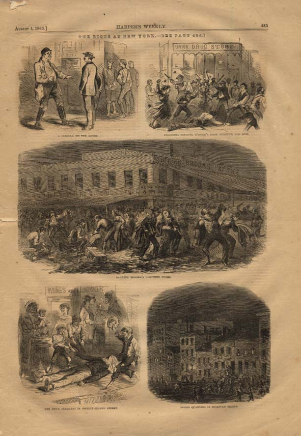 Image for HARPER'S WEEKLY 8/1 1863 NY Riots sack Brooks Clothing; Negroes on Sullivan St