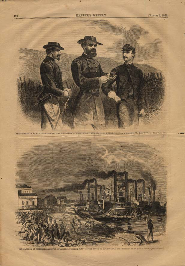 Image for HARPER'S WEEKLY 8/1 1863 Gen McPherson & Capture of Vicksburg Adm Porter fleet