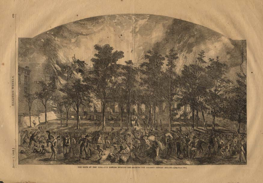 Image for HARPER'S WEEKLY 8/1 1863 NY Riots: Burning Sacking the Colored Orphan Asylum
