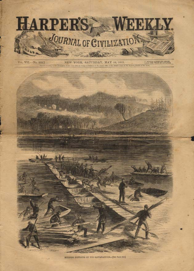 Image for HARPER'S WEEKLY 5/16 1863 Building pontoons on Rappahannock River