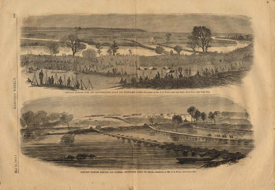 Image for HARPER'S WEEKLY 5/16 1863 Pontoons on Rappahannock for Gen Sedgwick's Corps