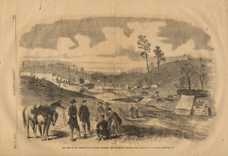 Image for HARPER'S WEEKLY 5/16 1863 12th Massachusetts Rgt Camp near Falmouth VA