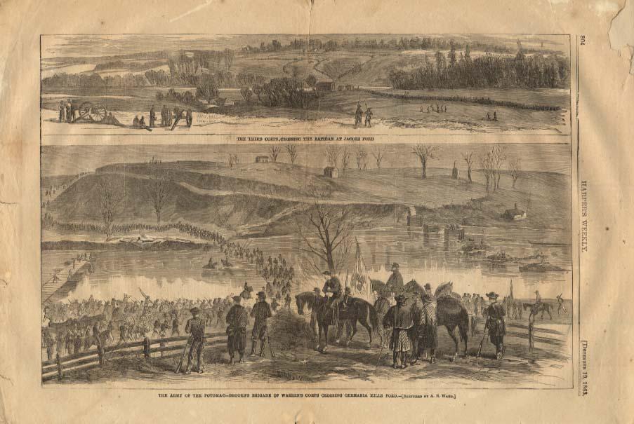 HARPER'S WEEKLY 12/19 1863 Army of Potomac Brooks Brigade Warren Corps Germania