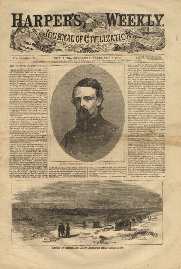 Image for HARPER'S WEEKLY 2/4 1865 General Alfred H Terry Capture of Fort Fisher