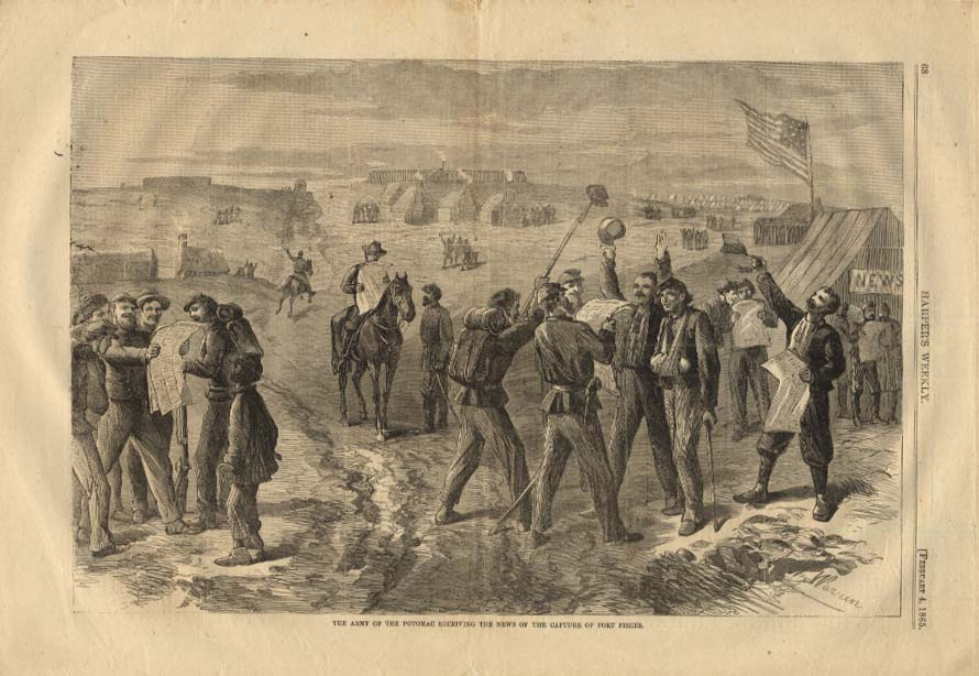 Image for HARPER'S WEEKLY 2/4 1865 Army of Potomac learning of capture of Fort Fisher