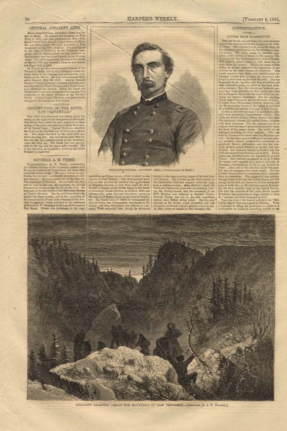 HARPER'S WEEKLY 2/4 1865 Gen Adelbert Ames by Brady; Unionists escape in E TN