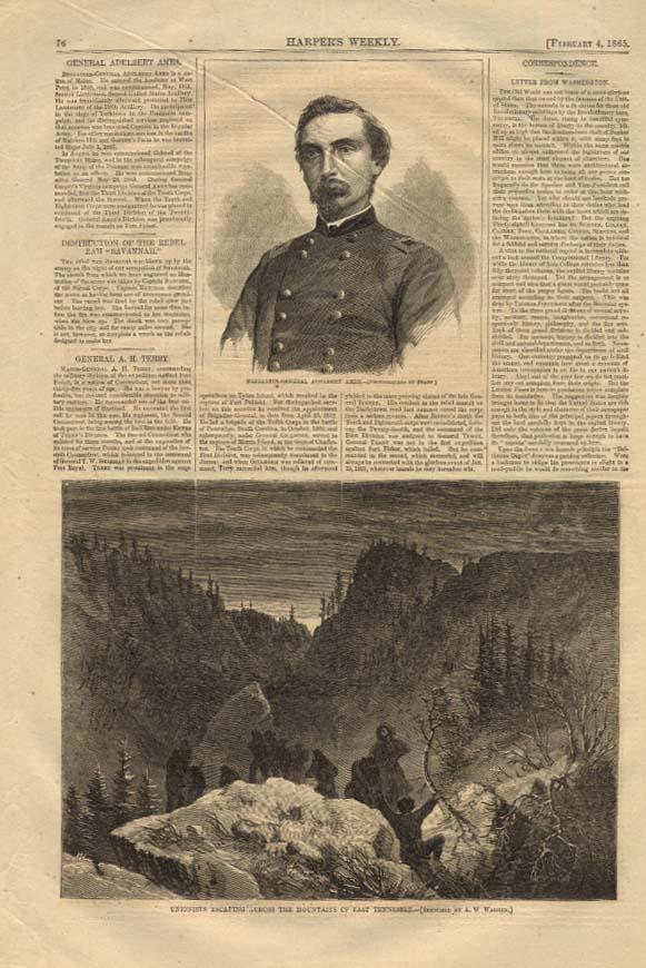 Image for HARPER'S WEEKLY 2/4 1865 Gen Adelbert Ames by Brady; Unionists escape in E TN