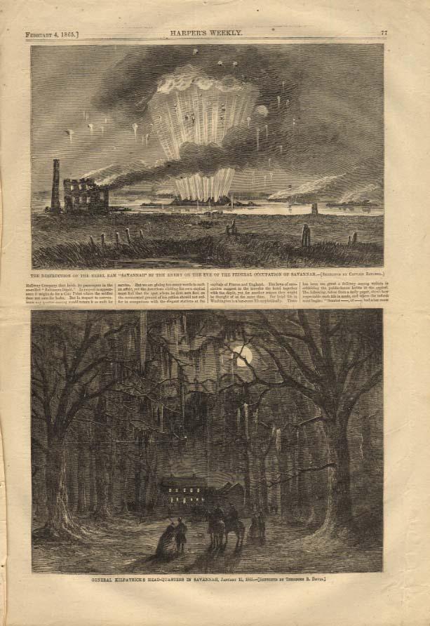 Image for HARPER'S WEEKLY 2/4 1865 Rebel Ram Savannah destroyed; Gen Kilpatrick's HQ