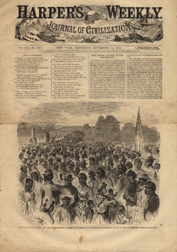 HARPER'S WEEKLY 11/14 1863 Gen Thomas addressing Negro Troops in Louisiana