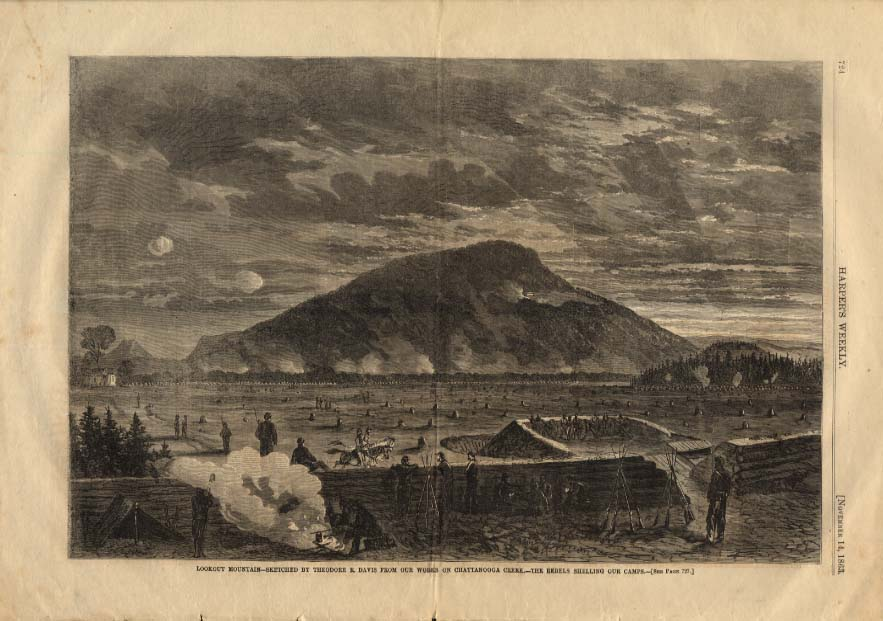 HARPER'S WEEKLY 11/14 1863 Rebels shelling Union Camps Lookout Mountain