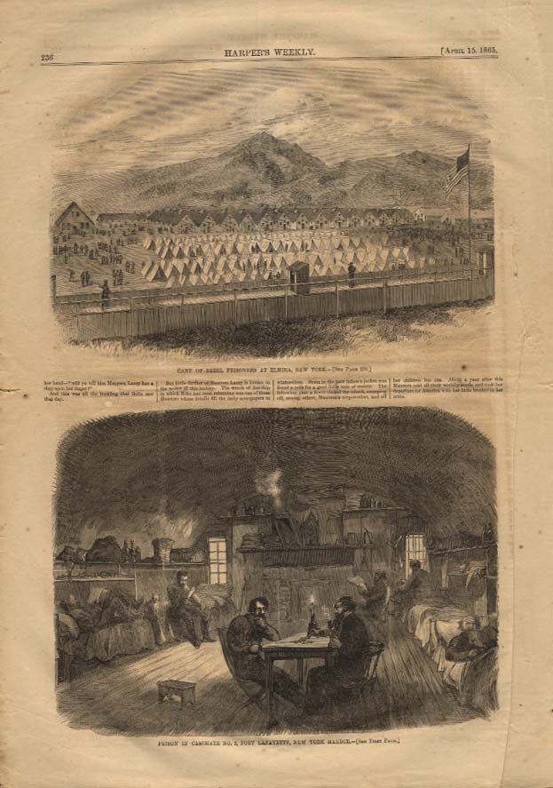 Image for HARPER'S WEEKLY 4/15 1865 Rebel Prison Camps Elmira NY & Fort Lafayette NYC