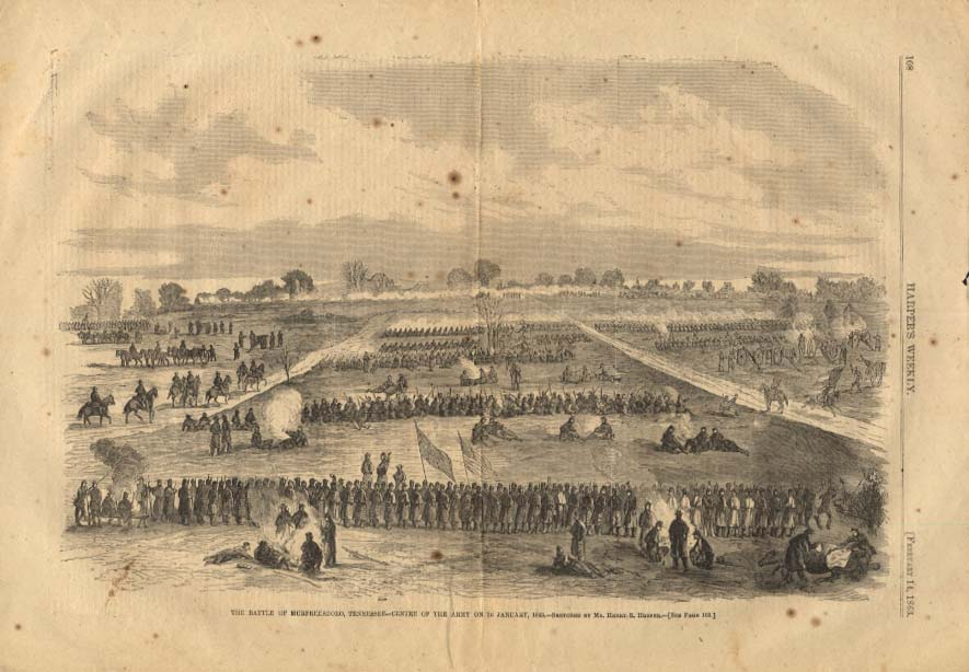 Image for HARPER'S WEEKLY 2/14 1863 Battle of Murfreesboro Tennessee 1/2 1863
