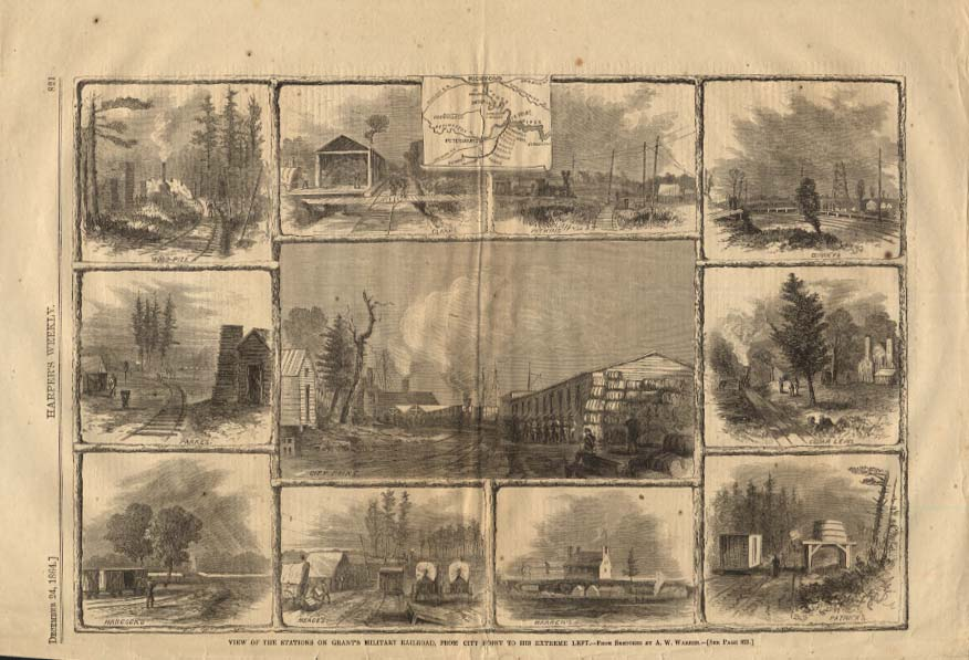 Image for HARPER'S WEEKLY 12/24 1864 Stations on General Grant's Military Railroad
