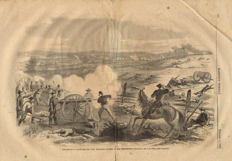 HARPER'S WEEKLY 10/11 1862 Battle of Antietam 1st Maryland Battery firing