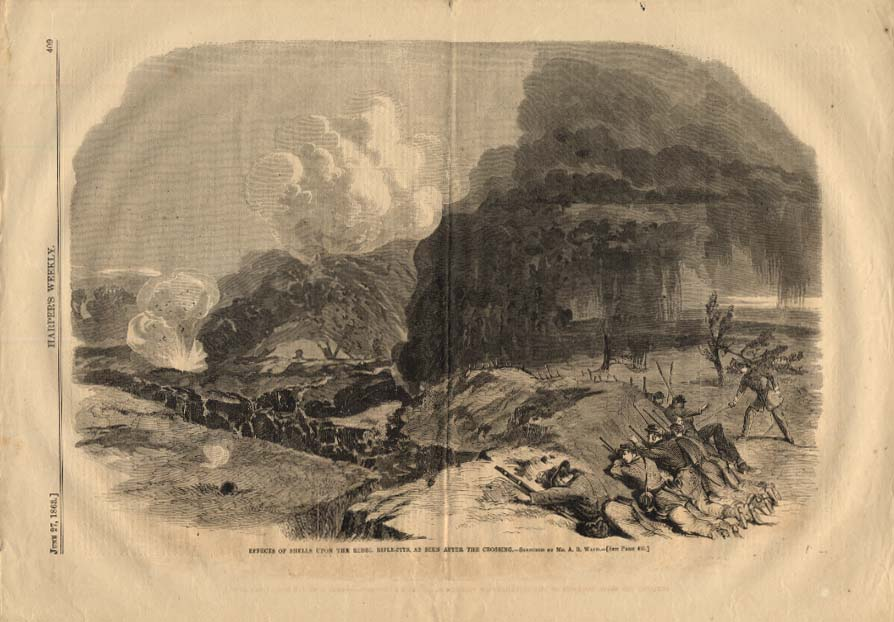 HARPER'S WEEKLY 6/27 1863 Effects of shells on Rebel Rifle-Pits after crossing