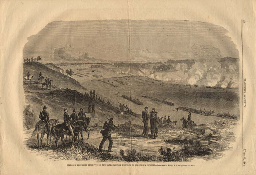 Image for HARPER'S WEEKLY 6/27 1863 Shelling Rebel Rifle-Pits on Rappahannock