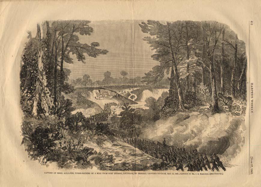 Image for HARPER'S WEEKLY 6/27 1863 Rebel Rifle-Pits taken by Gen Grover Ft Hudson LA
