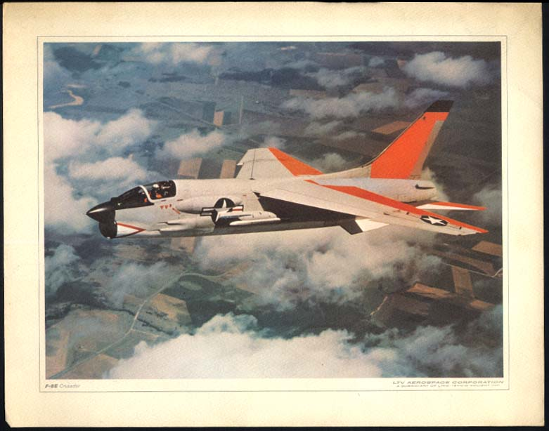 US Navy F-8E Vought Crusader color print LTV Aerospace ca 1960s