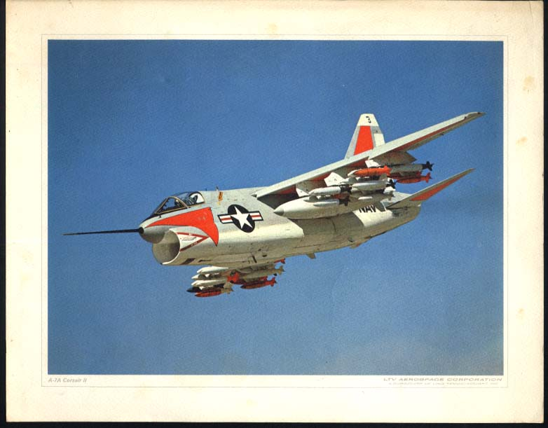 US Navy A-7A Corsair II color print LTV Aerospace ca 1960s