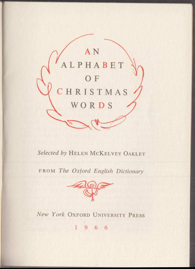 Typophiles Monograph #83: Helen McKelvey Oakley Alphabet of Christmas Words 1966