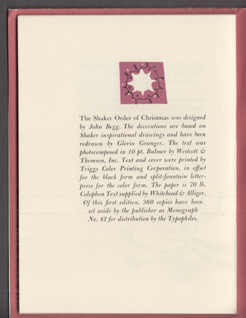 Typophiles Monograph #42: The Shaker Order of Christmas OUP 1954 John Begg