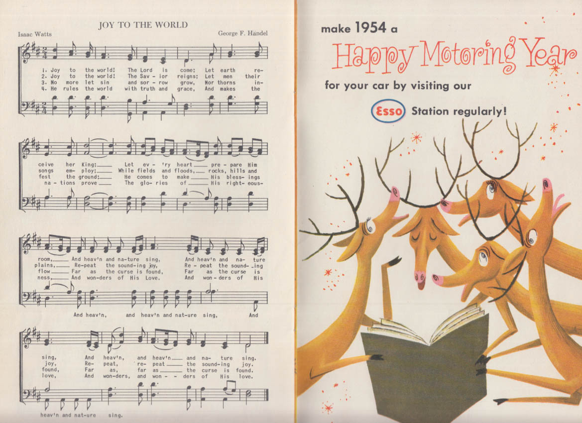 Jewell's Esso Servicenter Concord NH Sing a Song of Christmas carol book 1953