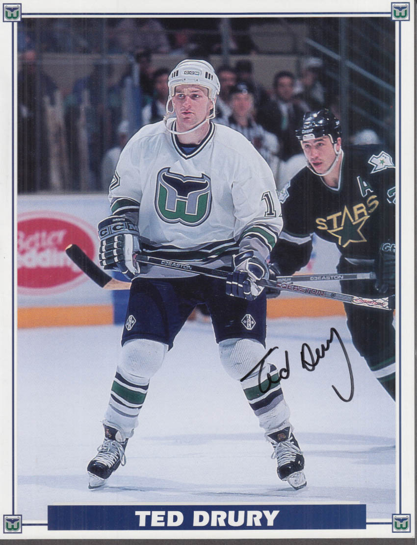 SIGNED Hartford Whalers Ted Drury color print va Montreal Canadiens 4/11 1994