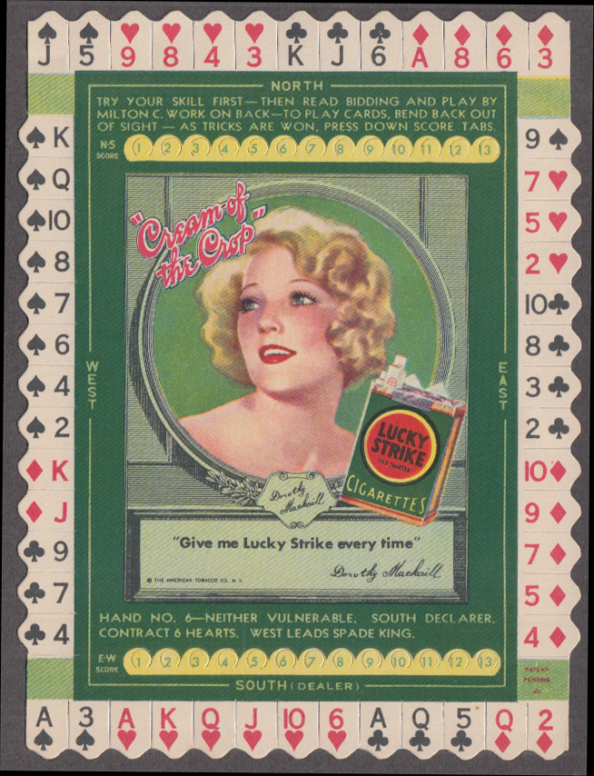 Dorothy Mackaill Lucky Strike Fifties Cigarettes Bridge Hand card #3 1932