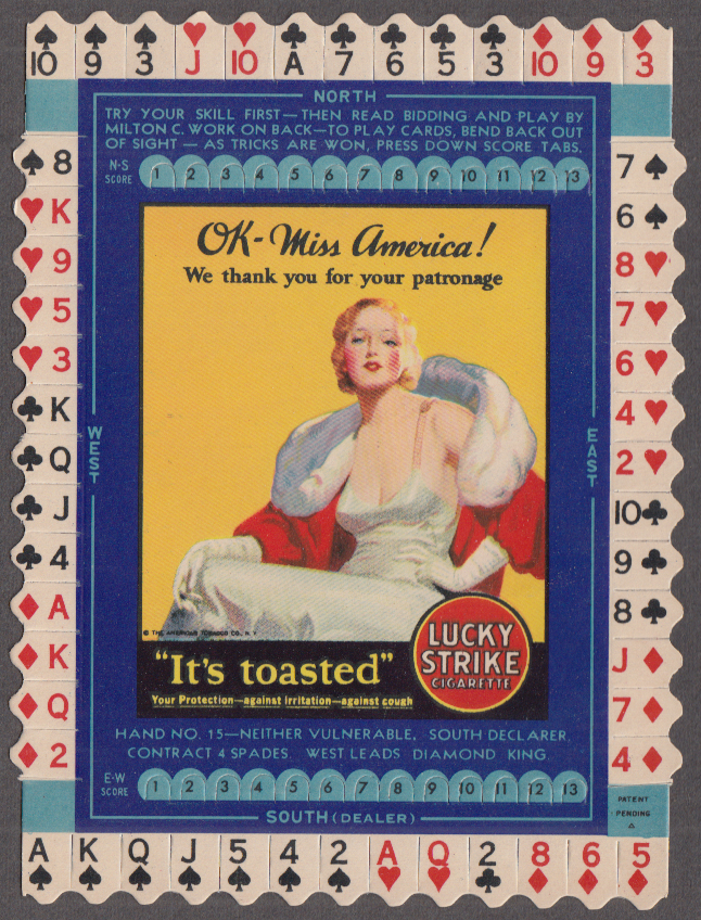 Sue Carol Lucky Strike Fifties Cigarettes Bridge Hand card #49 1932