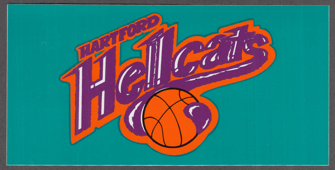 Hartford Hellcats CBA Pro Basketball unused bumper sticker 1990s