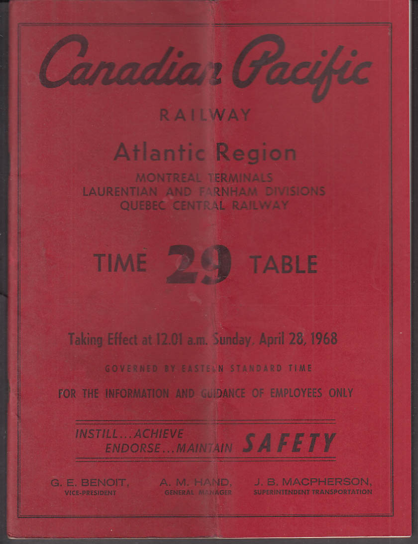 Canadian Pacific Railway employee timetable #29 4/28 1968 Atlantic Region