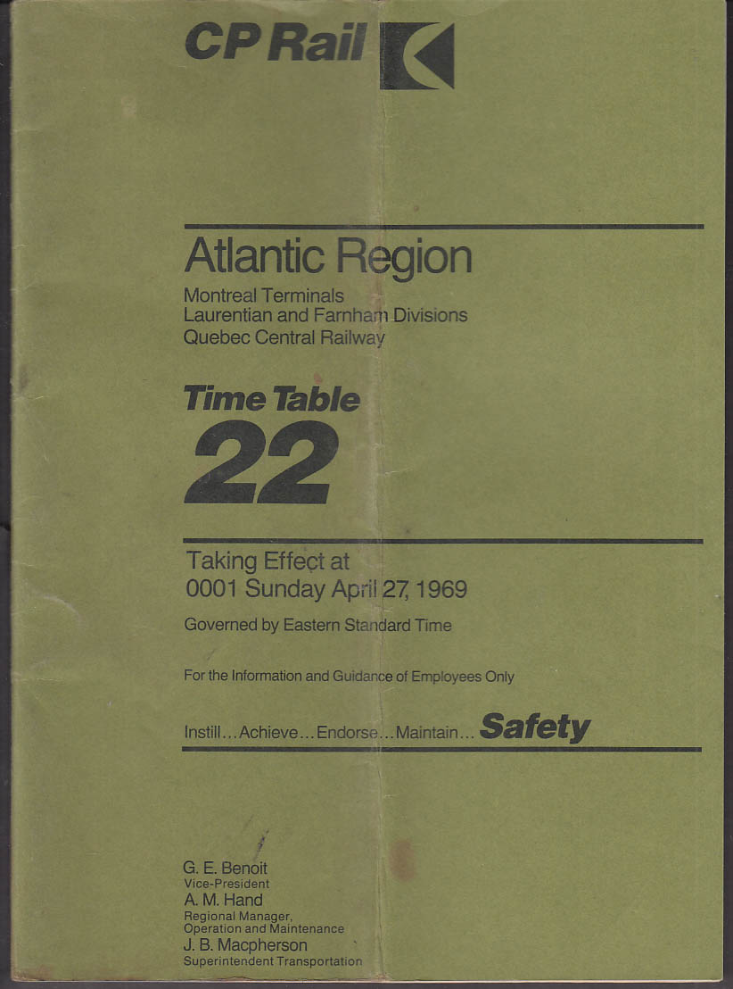 CP Rail employee timetable #22 4/27 1969 Atlantic Region