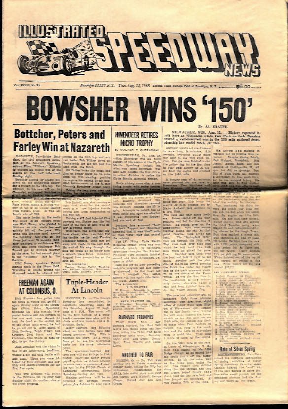ILLUSTRATED SPEEDWAY NEWS 8/13 1968 Bowsher Milwaukee 150; Nazareth winners