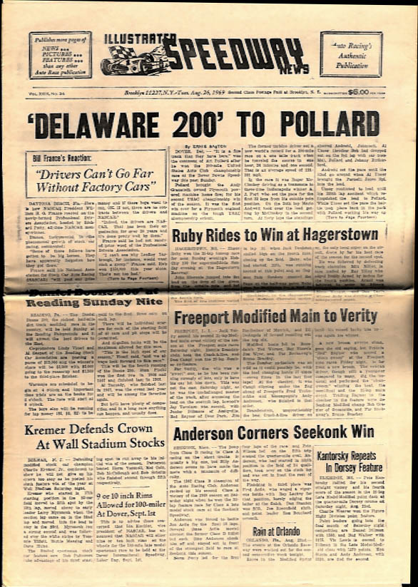 ILLUSTRATED SPEEDWAY NEWS 8/26 1969 Pollard Delaware 200; Ruby wins Hagerstown