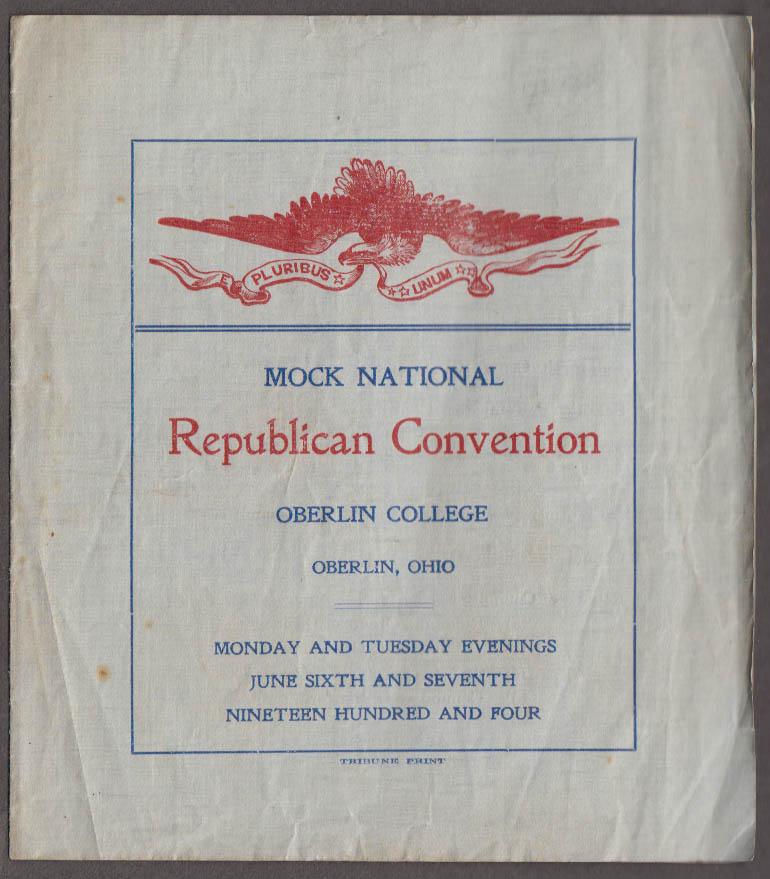 Mock National Republican Convention Program Oberlin College 1904 T Roosevelt
