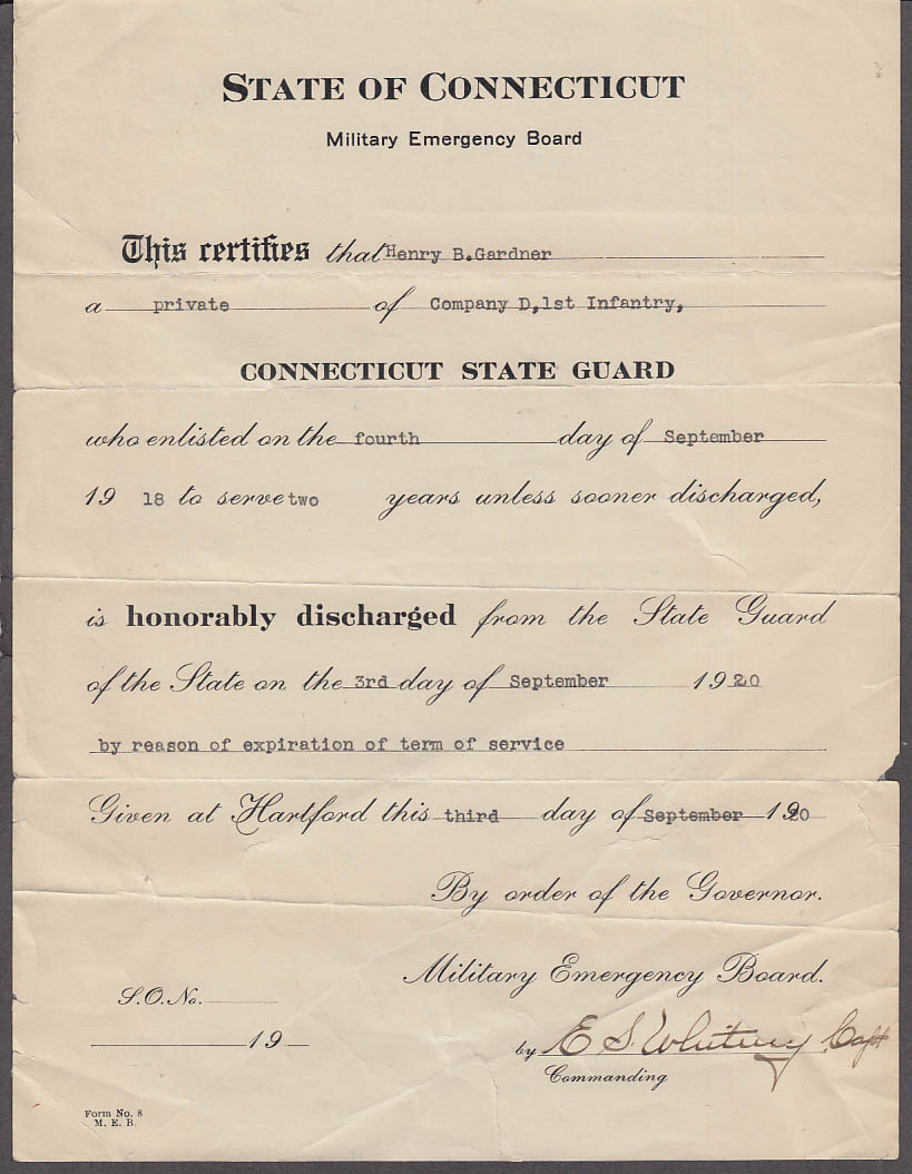 State of Connecticut Military Emergency Board State Guard Discharge 1920