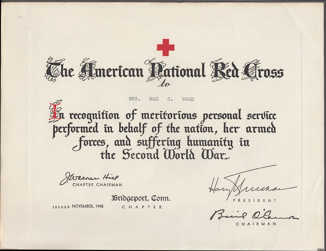 American National Red Cross Meritorious Service Certificate World