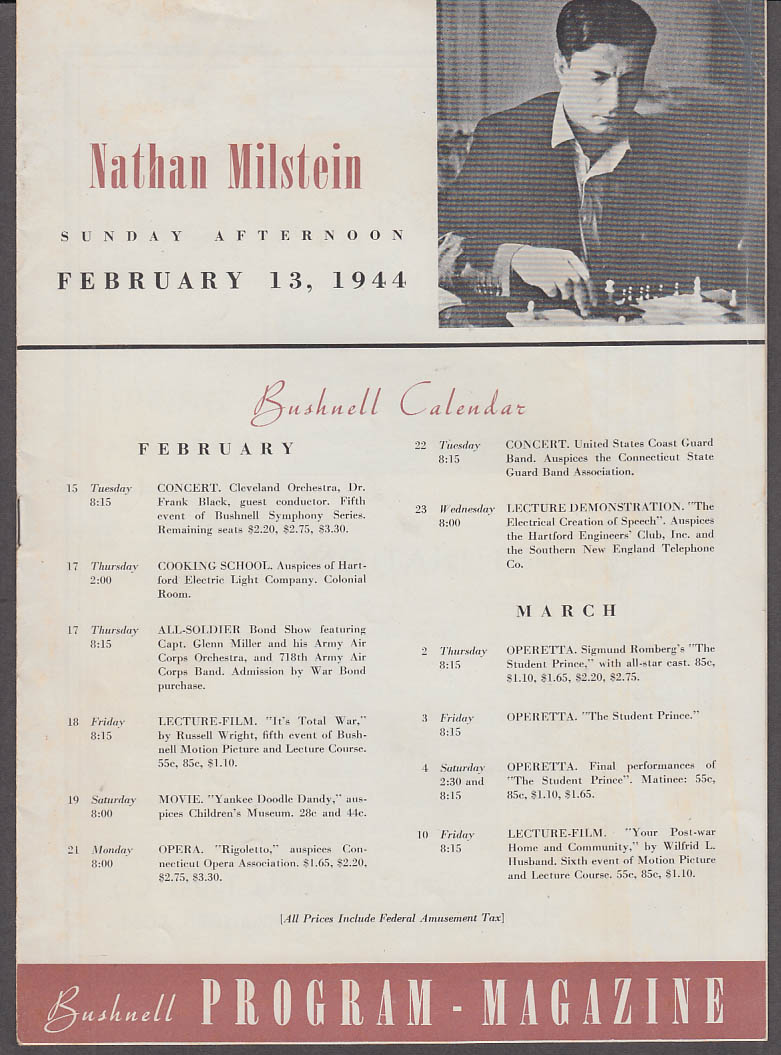 Violinist Nathan Millstein Bushnell Program Magazine 2/13 1944 Hartford CT