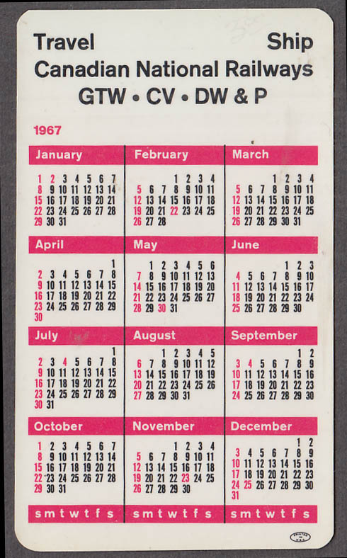 Canadian National Railways Expo '67 pocket calendar 1967
