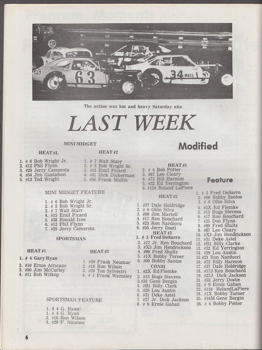 Stafford Springs Motor Speedway Program 4/28 1973