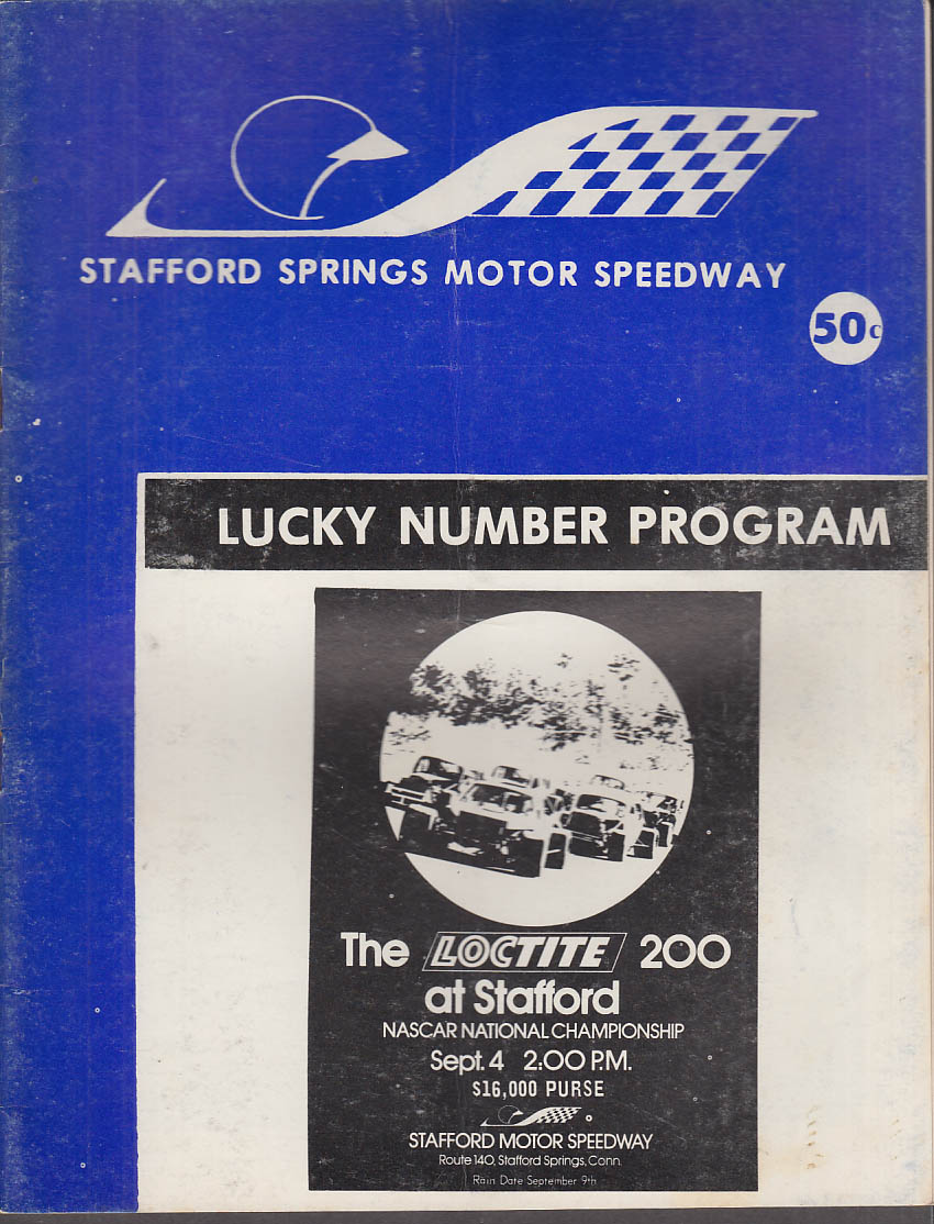 Stafford Springs Motor Speedway Program 9/4 1972 Loctite 200