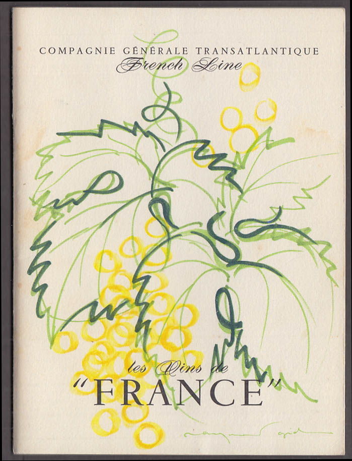 French Line S S France Wine & Beverage List 5 1974