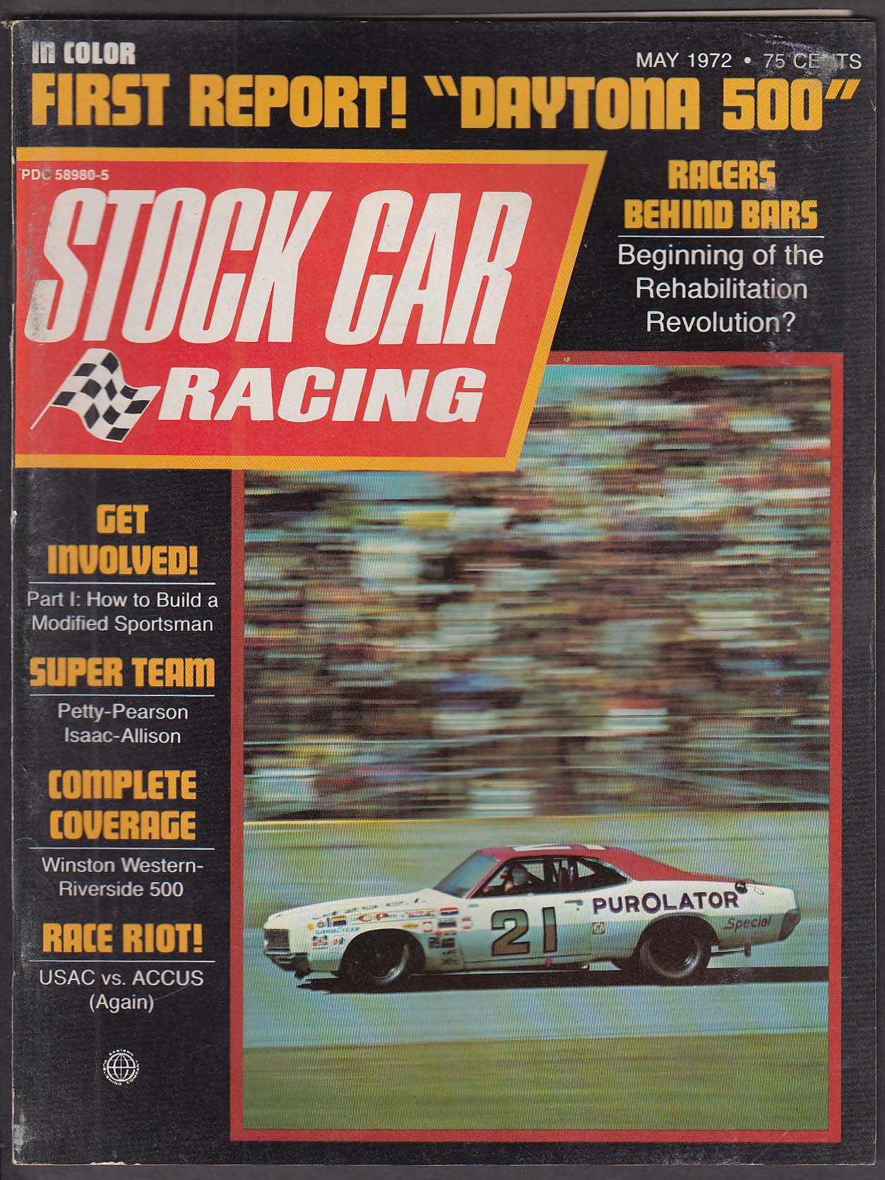 STOCK CAR RACING Daytona Don Diffindorf Winston Western-Riverside 500 ++ 5 1972