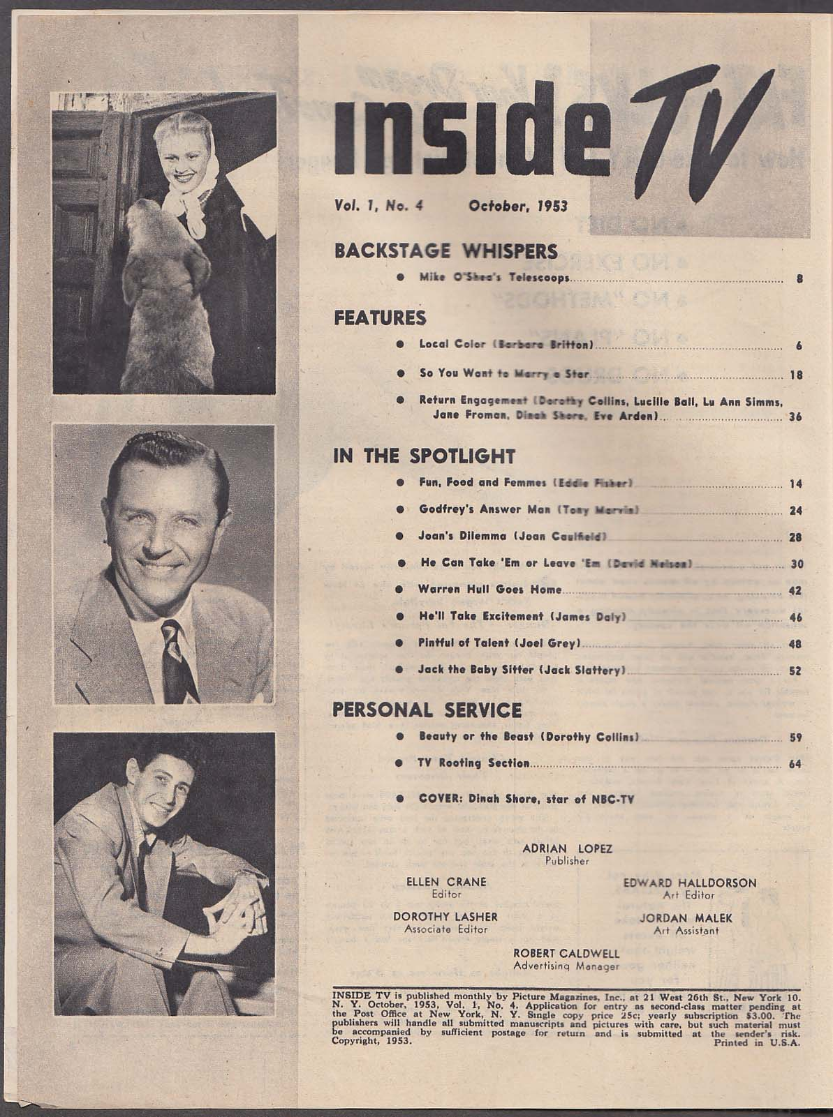 INSIDE TV Dinah Shore David Nelson Lucille Ball ++ 10 1953