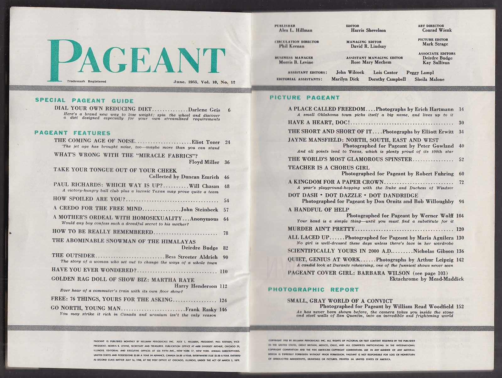PAGEANT Paul Richards Jayne Mansfield Barbara Wilson Martha Raye ++ 6 1955