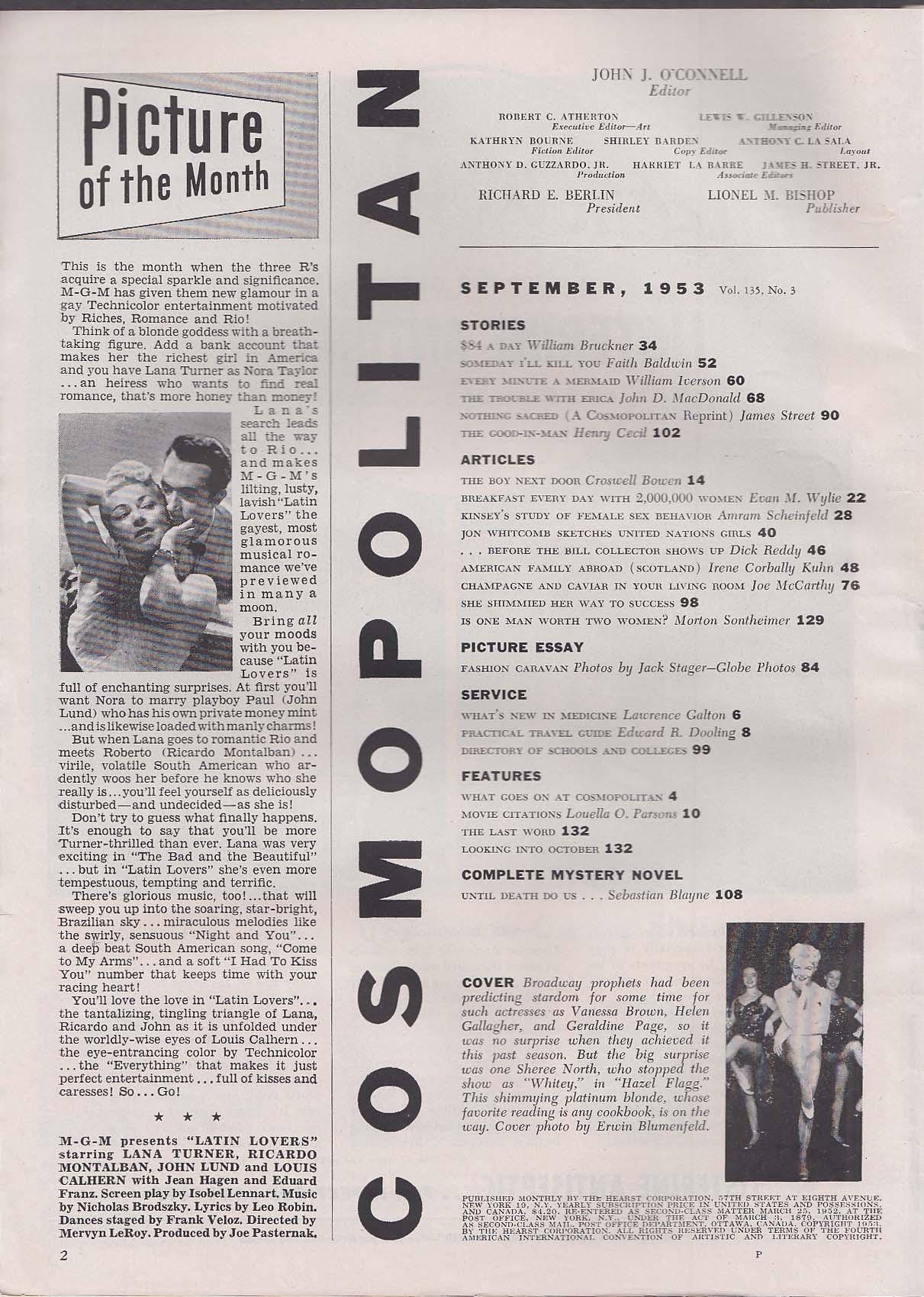 COSMOPOLITAN Sheree North Kinsey Report Sebastian Blayne ++ 9 1953