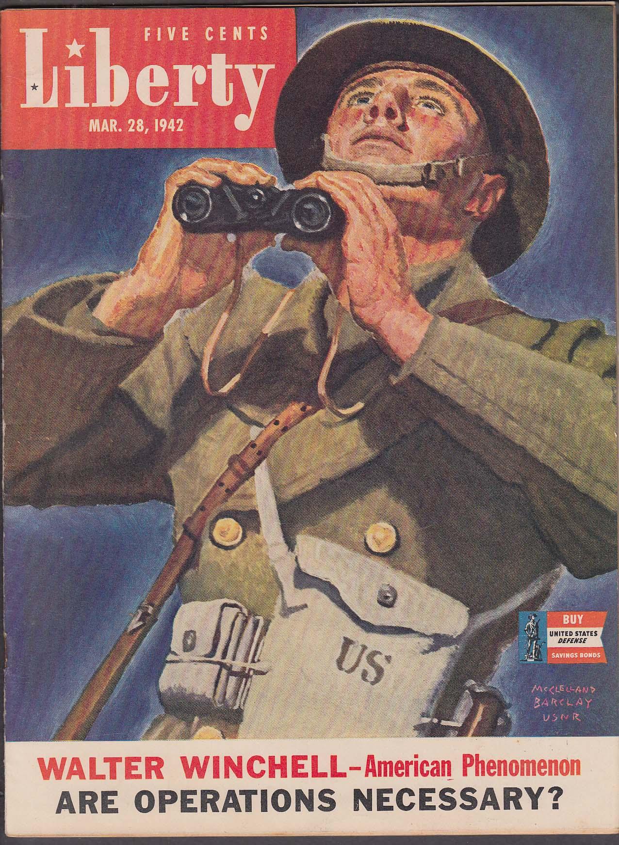 LIBERTY Walter Winchell Admiral Bradley Fiske ++ 3/28 1942